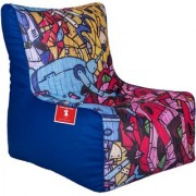 ComfyBean - Printed - Designer - Bean Chair - Size Kids - Filled With Beans Filler Colorful Graffiti Blue