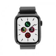 Apple Watch Series 5 - boîtier en acier inoxydable noir 44mm - bracelet milanais en noir sidéral (GPS+Cellular)