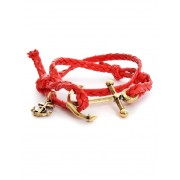 Double U Frenk Twisted Red Leather Anchor Gold