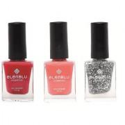 Carmine Cantaloupe and Crescent Dreams 9.9ml Each Elenblu Pearls Nail Polish Set of 3 Nail Polish