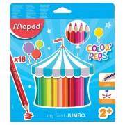 Creioane colorate,18b/set,Jumbo,Maped