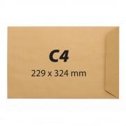 Plic pentru documente din hartie kraft C4, 229 x 324 mm, 90 g/mp, banda silicon, 25 bucati/cutie