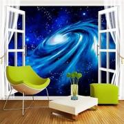 ZFFMSS Papel Pintado 3D Mural Fotográfico Personalizado Papel Pintado No Tejido 3D Estéreo Ventana Paisaje Galaxia Estrellada Grandes Murales Revestimiento De Paredes450Cmx300Cm