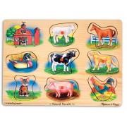 Puzzle lemn cu sunete Animale de la Ferma, Melissa and Doug