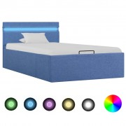 vidaXL Легло с повдигащ механизъм с LED, синьо, текстил, 100x200 см