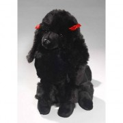 Geen Pluche honden knuffel zittende zwarte Poedel 30 cm