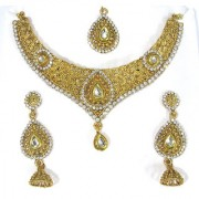 Golden White Stone Layer Jhumka Necklace Set