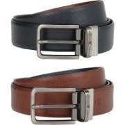 Tommy Hilfiger Men Formal Tan, Blue Genuine Leather Reversible Belt