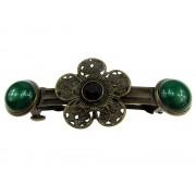 Clama de par bronz model floare cu agate verzi