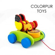 Colorpur Pull Along Pair of Hens - Eco-friendly Wooden Toys for Babies / Toddlers | Age: 12 - 30 months