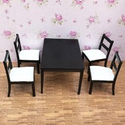 Yan Toy Gift 1:12 Dollhouse Dining Room Furniture Set 5Pcs Dining Black And White Chairs And Tables