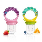 Baabyoo Baby Food Fruit Feeder Pacifier with Bells (2 Pack) BPA Free Soothie Pacifier Mesh Teether Soother Baby Food Teething Toy Silicone Fresh Meat Fruit Food Nibbler