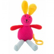 Global Affairs - Crochet Musical Bunny - Cerise | organic cotton | cerise pink | Red and Blue - Cerise pink/Pink/Pink