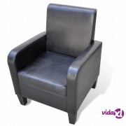 vidaXL Fotelja od Umjetne Kože Crna