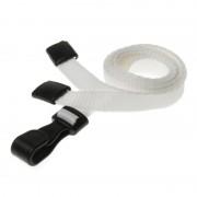 Laccetti porta badge bianco con moschettone in plastica 100 pz
