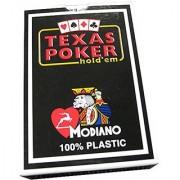 Modiano Italian Poker Game Playing Cards - Black Box Texas Poker - Blue Deck - Jumbo 2 Index - Single Card Deck - 100% P