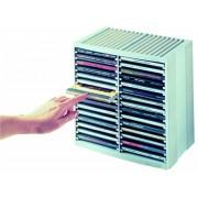 CD-tároló, automata kiemelőrendszerű, 30+18 db-os, FELLOWES Spring, platinaszürke (IFW98230)