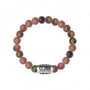 CO88 Armband met logobead staal/rhodoniet/roze/grijs, rek/all-size 8CB-17029