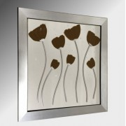 Brown Poppies Embellished Glass Art.