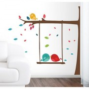EJA Art leaf tree Wall Sticker (Material - PVC) (Pec - 1) With Free Set of 12 pec butterflies sticker