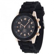 Varni Retail Attractive Black Silicon Strap With Designer Black Dial Men Wirst Watch For Boys
