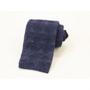 40 Colori - Linen Diamonds Knitted Tie - NAVY - Blue/Green