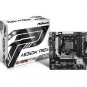 Дънна платка ASRock AB350M Pro4, AMD B350, AM4, DDR4, PCI-E(HDMI&DVI)(CFX), 4x SATA 6Gb/s, 1x Ultra M.2 Socket, 1x M.2 Socket, 1x USB 3.0 Type-C, microATX