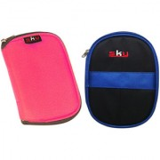Sky Hard Disk Pouch Combo Pink With Dark Blue
