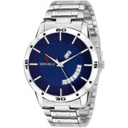 Svviss Bells Original Blue Dial Silver Steel Chain Day and Date Multifunction Chronograph Wrist Watch for Men - SB-1021
