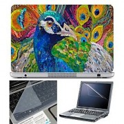 FineArts Laptop Skin - Peacock Art With Screen Guard and Key Protector - Size 15.6 inch