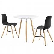 [en.casa]® Design blagovaonski set - stol(bijeli,ø 80 cm) s 3 stolice(crne)