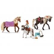 Schleich Set de schleich chevaux (équestre + étalon paso fino, mia & spotty, équestre rocky mountain)