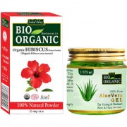 Hibiscus Flower Powder For Controls Oily Skin And Aloe Vera Gel For Face Set Of 2