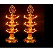 3 Layer LED Electric Diya Deepak Light Lamp LED Lights for Puja Home Temple Decor Diwali Festival Pack of 2 by REBUY