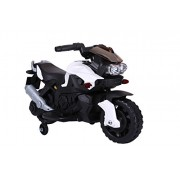 Ride-On Toys Kids Ride On 6V Electric Powered Motorcycle Bike Toy with Training Wheels AUX Plug, White