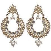 Lucky Jewellery Ethnic White Color Gold Plating Kundan Earring For Girls Women