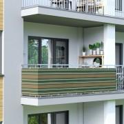 Jarolift Osłona balkonowa Basic. z oddychającej tkaniny, zielono-biało-brązowa, dł. 300 cm