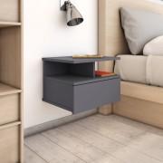 vidaXL Нощни шкафчета за стена, 2 бр, сиви, 40x31x27 см, ПДЧ