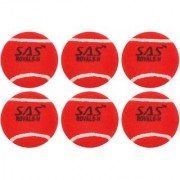 SAS Professional Playing level - For Unisex Cricket Tennis Ball (Pack of 6) (Red)