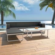 vidaXL Set canapea grădină, 13 piese, textilenă, aluminiu, negru/alb