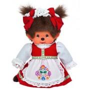 Monchhichi kalocsai mintás ruhás lány plüssfigura 20 cm 74660