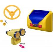 Pakket geel 3, met een autostuur, een verrekijker en een brievenbus