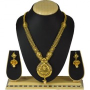 Pourni Long Necklace Set with Jhumka Earring for bridal jewellery Antique Finish necklace Set - BHNK12