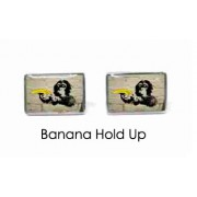 Tyler & Tyler Stencilart White Bricks Cufflinks Banana Hold Up