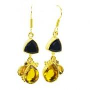 Riyo Black Onyx Citrine Cz 18ct Ygold Plate Huggy Earrings L 1.5in Gpemul-52016