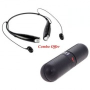 Vinimox Pill Shaped Bluetooth Speaker With FM/SD Card/Mic Devices with HBS-730 Neckband Bluetooth Headphones Wireless