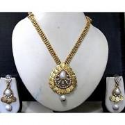 Golden line laxmi coin tilak pendant necklace set