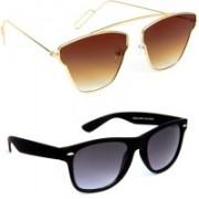 TheWhoop Aviator, Wayfarer Sunglasses(Brown, Black)