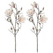Shoppartners 2x Licht roze Magnolia/beverboom kunsttak kunstplant 90 cm