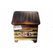 Shilpi Wooden Handmade Table/Stool/poufee/chowki/Corner Table/Pot Stand